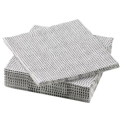 VINTERSNÖ Papirserviet, prikket/sort, 24x24 cm