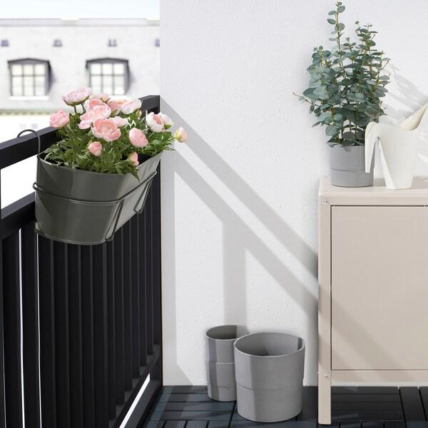 VITLÖK Blomsterkasse med holder, indendørs/udendørs mørkegrå, 56x20 cm