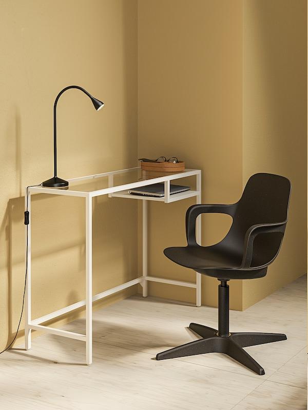 VITTSJÖ Bord til bærbar computer, hvid/glas, 100x36 cm