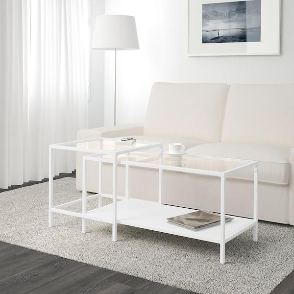 VITTSJÖ Indskudsborde, sæt med 2, hvid/glas, 90x50 cm
