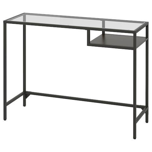 VITTSJÖ bord til bærbar computer sortbrun/glas 100 cm 36 cm 74 cm 25 kg
