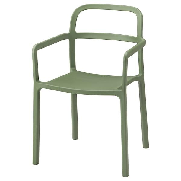 YPPERLIG Stol med armlæn, inde/ude, grøn