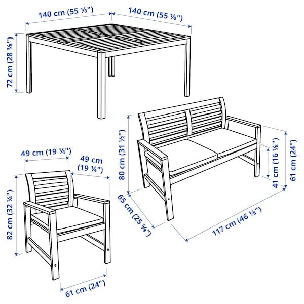 ÄPPLARÖ Table+6 chairs armr+bench, outdoor, brown stained/Frösön/Duvholmen beige