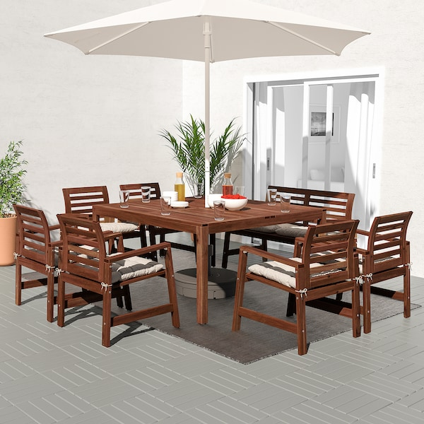 ÄPPLARÖ Table+6 chairs armr+bench, outdoor, brown stained/Kuddarna grey