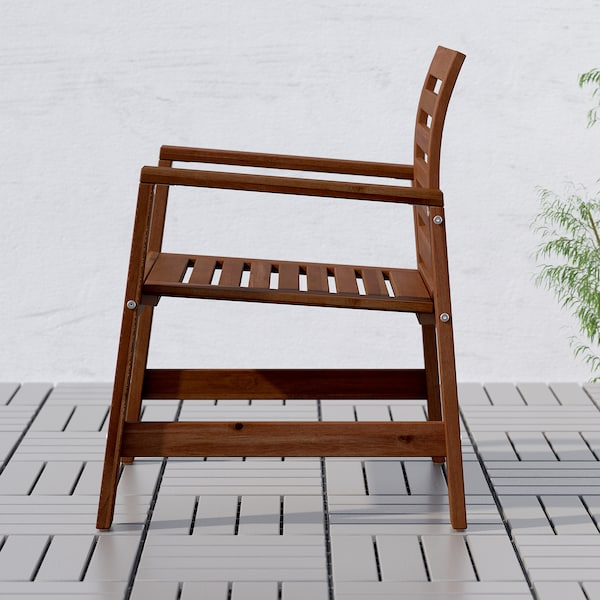 ÄPPLARÖ Table+6 chairs armr+bench, outdoor, brown stained/Kuddarna light blue