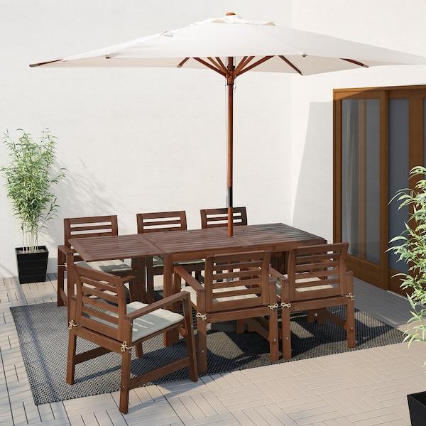 ÄPPLARÖ Table+6 chairs w armrests, outdoor, brown stained/Hållö beige