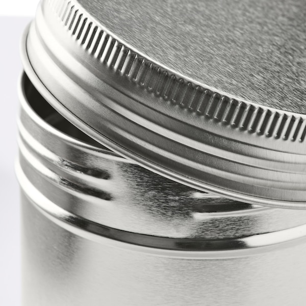 ANILINARE Storage tin with lid, set of 3, metal