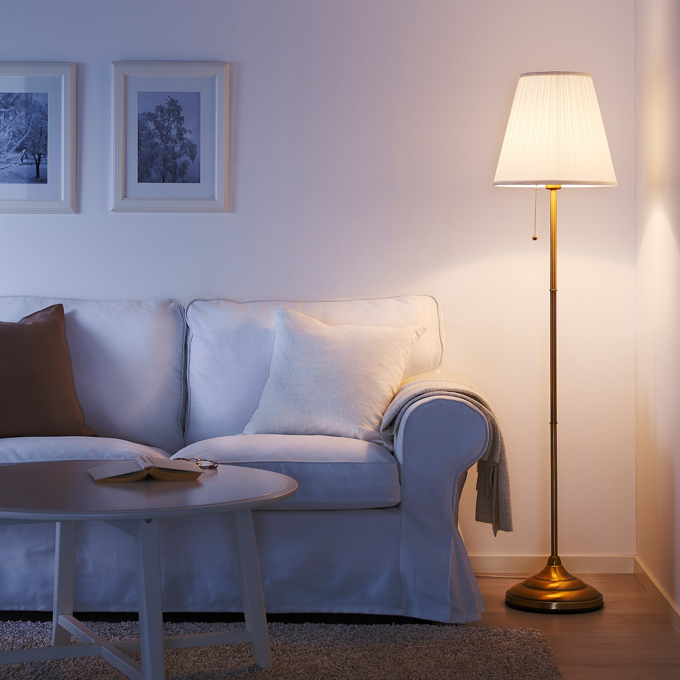 Arstid Floor Lamp Brass White Ikea