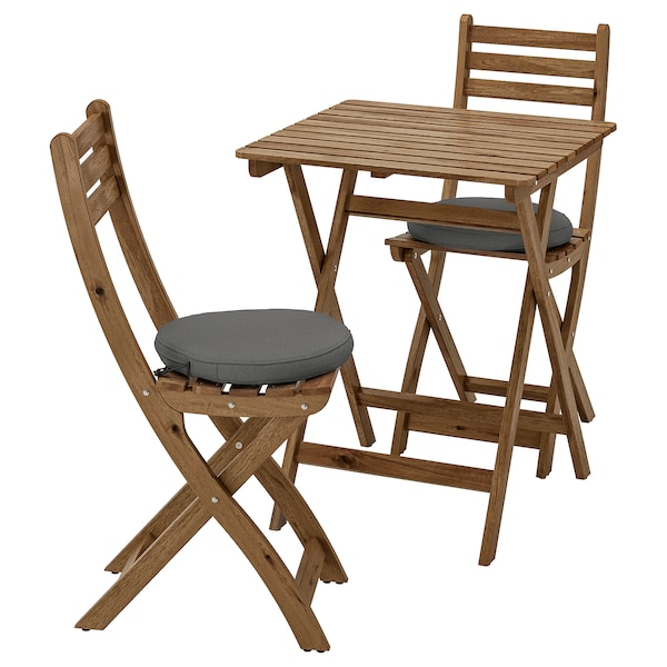 ASKHOLMEN table and 2 folding chairs, outdoor grey-brown stained/Frösön/Duvholmen dark grey
