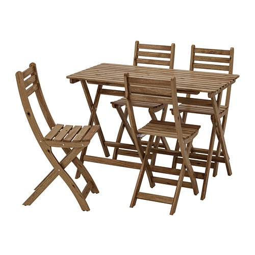 ASKHOLMEN Table+4 Chairs, Outdoor, Grey Brown Stained