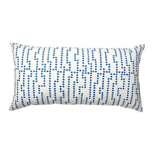 AVSIKTLIG Cushion, white/blue