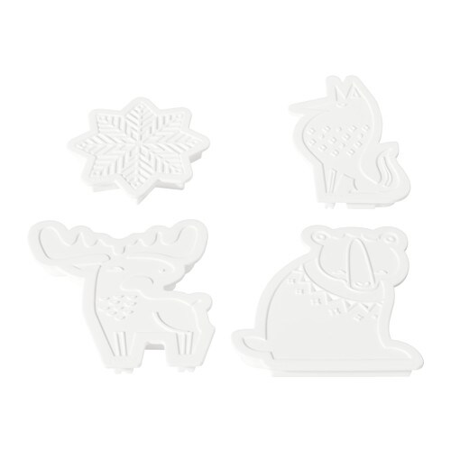 BAKGLAD Pastry cutter, set of 4, assorted shapes white