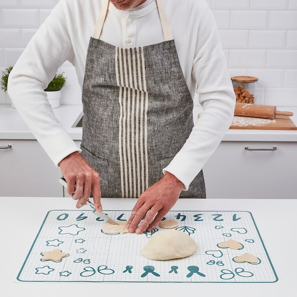 BAKTRADITION Baking mat, white/turquoise, 61x46 cm