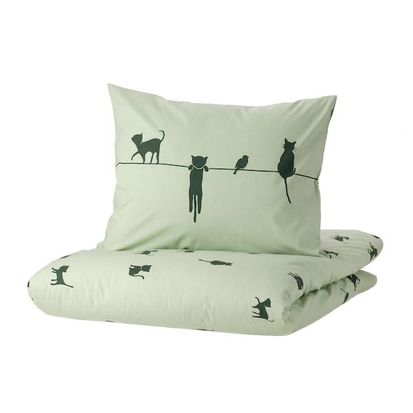 BARNDRÖM Duvet cover and pillowcase, cat pattern/green, 150x200/50x80 cm