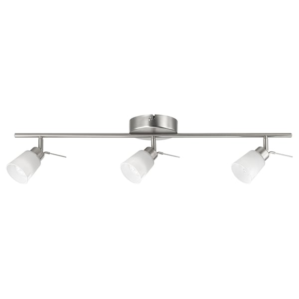 BASISK Ceiling track, 3-spots, nickel-plated/white