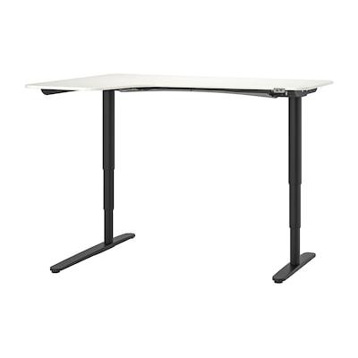 BEKANT Corner desk left sit/stand, white/black, 160x110 cm