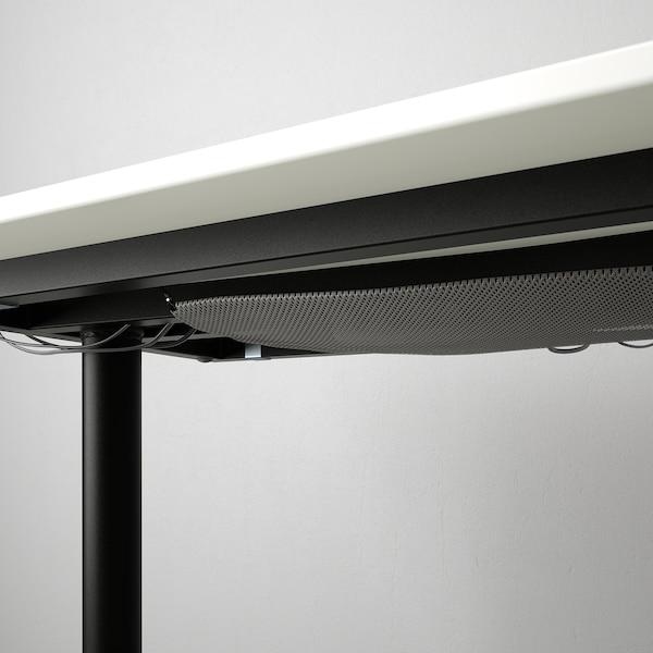 BEKANT مكتب زاوية يمين, أبيض/أسود, 160x110 سم