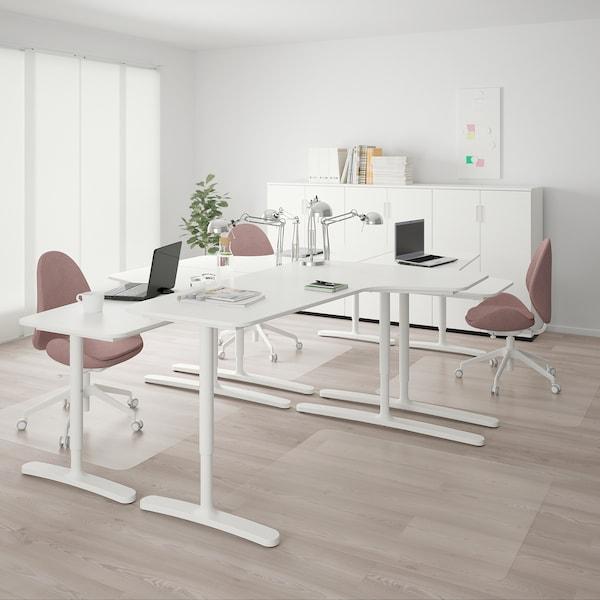 BEKANT تشكيلة مكتب, أبيض, 320x220 سم
