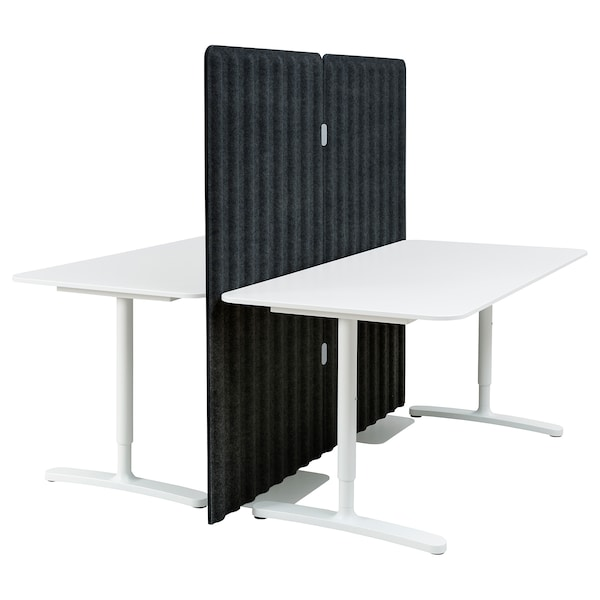 BEKANT مكتب مع حاجز, أبيض/رمادي غامق, 160x160 150 سم
