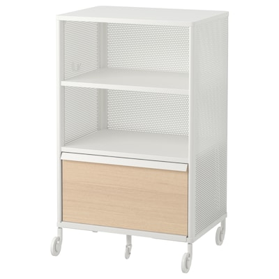 BEKANT Storage unit on castors, mesh white, 61x101 cm