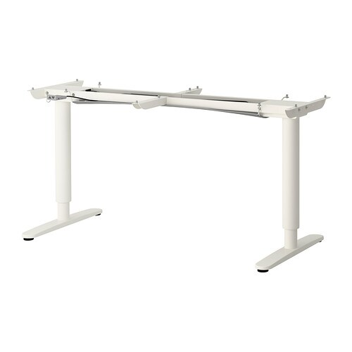 BEKANT Underframe sit/stand f table tp, el, white