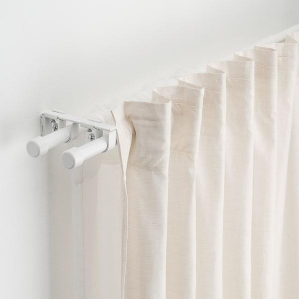BEKRÄFTA Double curtain rod set, white, 120-210 cm 19 mm