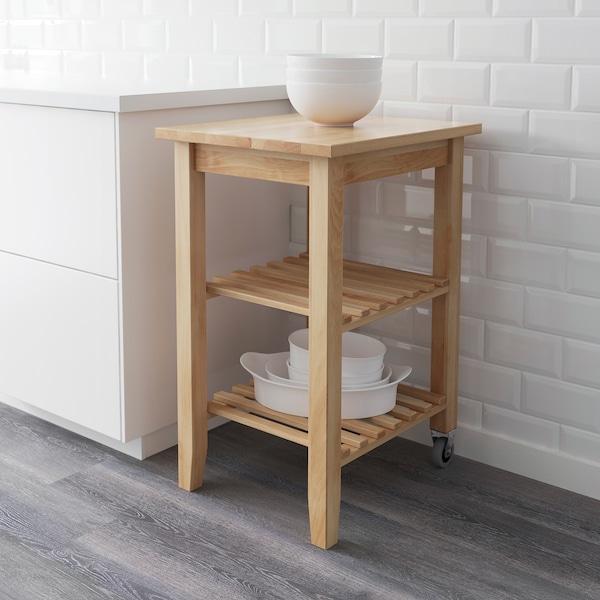 BEKVÄM Kitchen trolley, birch, 58x50 cm