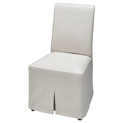 BERGMUND Chair cover, long, Kolboda beige/dark grey