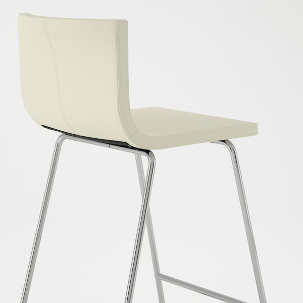 BERNHARD مقعد مرتفع مع مسند ظهر, طلاء كروم/Mjuk أبيض, 66 سم