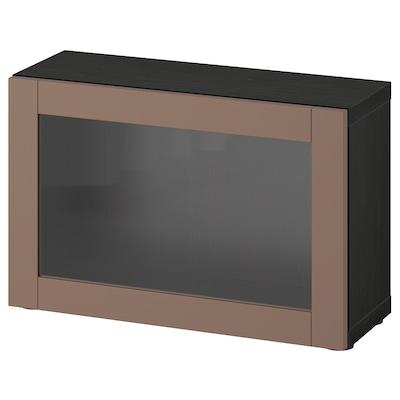 BESTÅ Shelf unit with door, black-brown/Sindvik light grey-brown, 60x22x38 cm