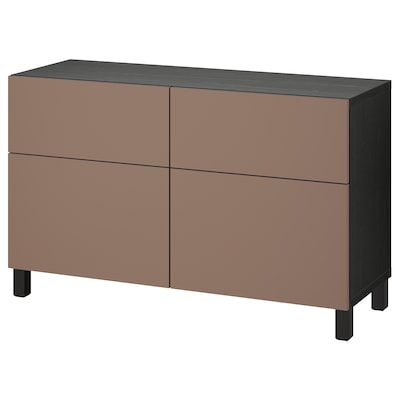 BESTÅ Storage combination w doors/drawers, black-brown/Lappviken/Stubbarp light grey-brown, 120x42x74 cm