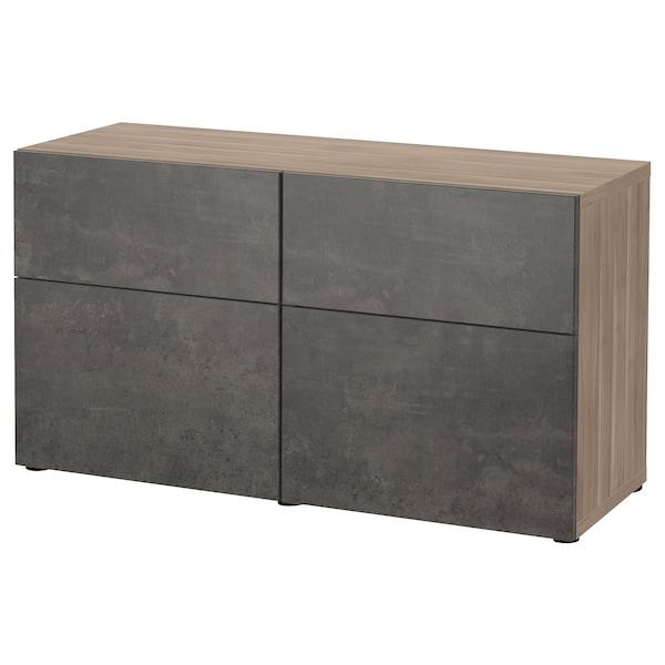 BESTÅ Storage combination w doors/drawers, grey stained walnut effect Kallviken/dark grey concrete effect, 120x42x65 cm