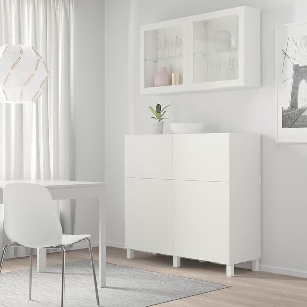 BESTÅ تشكيلة تخزين مع أبواب/ أدراج, أبيض/Lappviken/Stubbarp أبيض زجاج شفاف, 120x42x240 سم