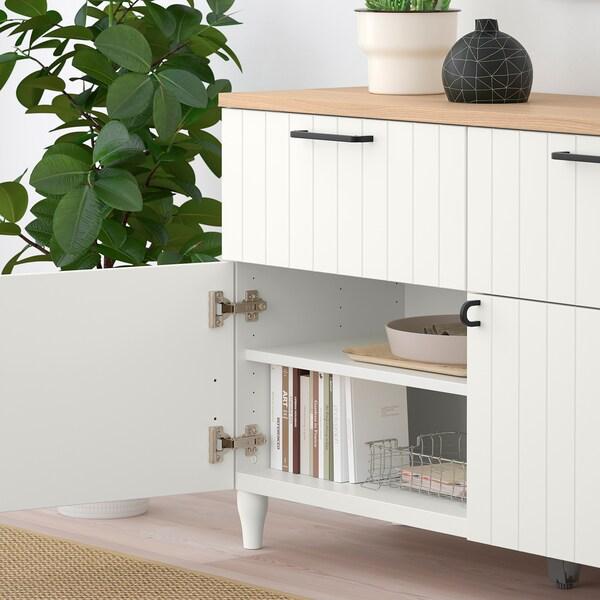 BESTÅ تشكيلة تخزين مع أبواب/ أدراج, أبيض/Sutterviken/Kabbarp أبيض, 120x42x76 سم