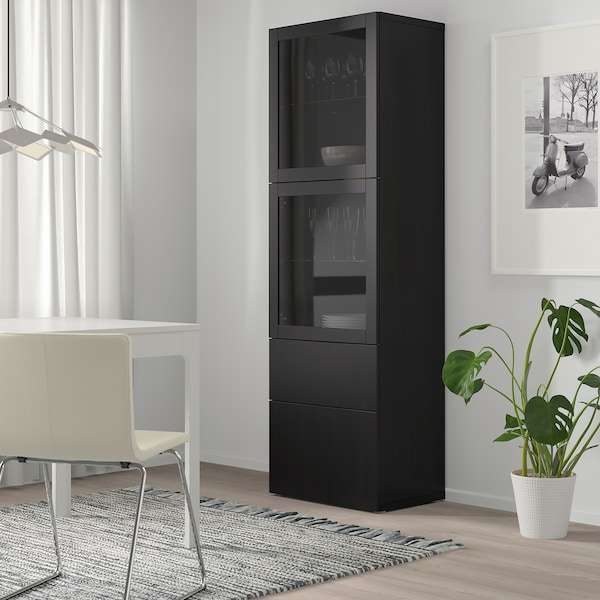 BESTÅ Storage combination w glass doors, black-brown/Lappviken black-brown clear glass, 60x42x193 cm