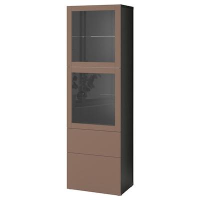 BESTÅ Storage combination w glass doors, black-brown Lappviken/light grey-brown clear glass, 60x42x193 cm