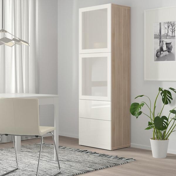 BESTÅ تشكيلة تخزين مع أبواب زجاجية, مظهر الجوز مصبوغ رمادي/Selsviken لامع/زجاج ضبابي أبيض, 60x42x193 سم