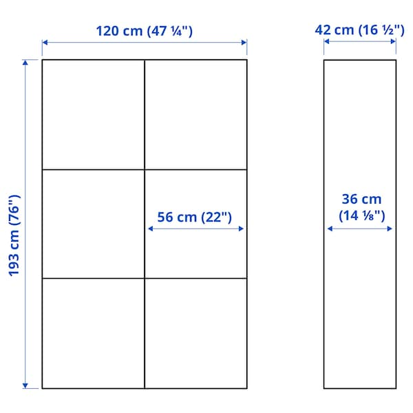 BESTÅ تشكيلة تخزين مع أبواب, أسود-بني Kallviken/رمادي غامق تأثيرات ماديّة., 120x42x193 سم