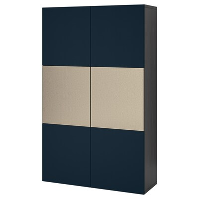 BESTÅ تشكيلة تخزين مع أبواب, أسود-بني Riksviken/Notviken أزرق, 120x42x192 سم