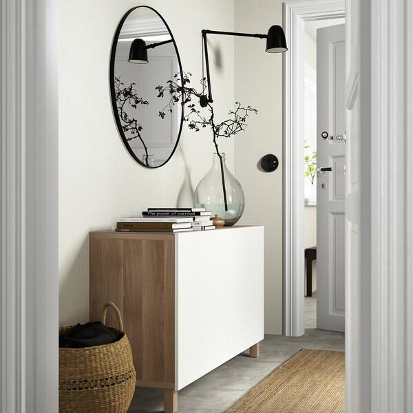 BESTÅ تشكيلة تخزين مع أبواب, مظهر الجوز مصبوغ رمادي/Laxviken/Stubbarp أبيض, 120x42x74 سم
