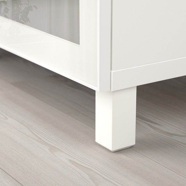 BESTÅ Storage combination with doors, white/Glassvik/Stubbarp white clear glass, 180x42x74 cm