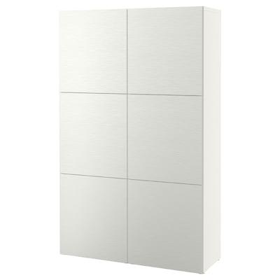 BESTÅ تشكيلة تخزين مع أبواب, أبيض/Laxviken أبيض, 120x42x193 سم