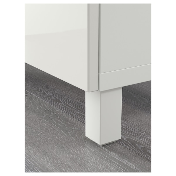 BESTÅ Storage combination with doors, white Selsviken/Glassvik high-gloss/white clear glass, 180x42x112 cm