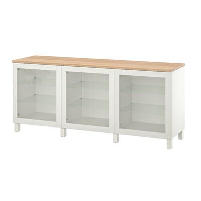 BESTÅ Storage combination with doors, white/Sindvik/Stubbarp white clear glass, 180x42x76 cm
