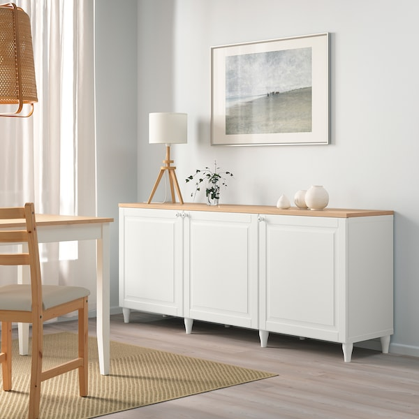 BESTÅ تشكيلة تخزين مع أبواب, أبيض/Smeviken/Kabbarp أبيض, 180x42x76 سم