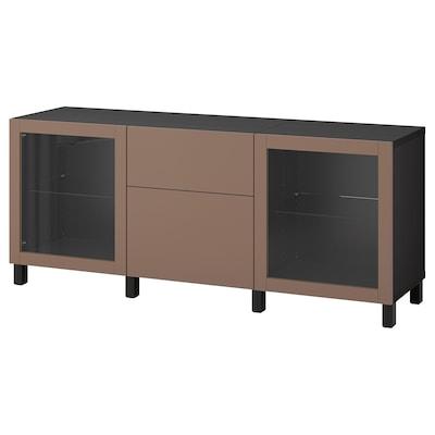BESTÅ Storage combination with drawers, black-brown Lappviken/Stubbarp/light grey-brown clear glass, 180x42x74 cm