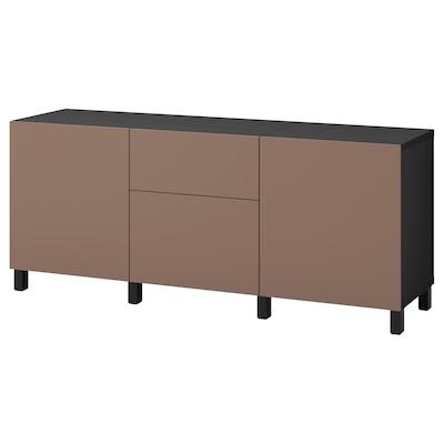 BESTÅ Storage combination with drawers, black-brown/Lappviken/Stubbarp light grey-brown, 180x42x74 cm
