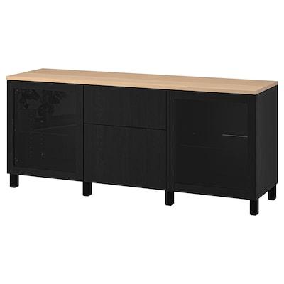 BESTÅ Storage combination with drawers, Sindvik black/Lappviken/Stubbarp black-brown, 180x42x76 cm