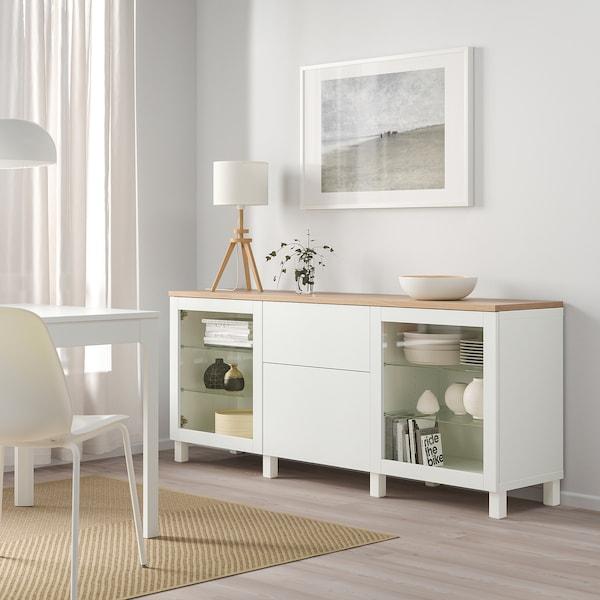 BESTÅ Storage combination with drawers, Sindvik white/Lappviken/Stubbarp white, 180x42x76 cm
