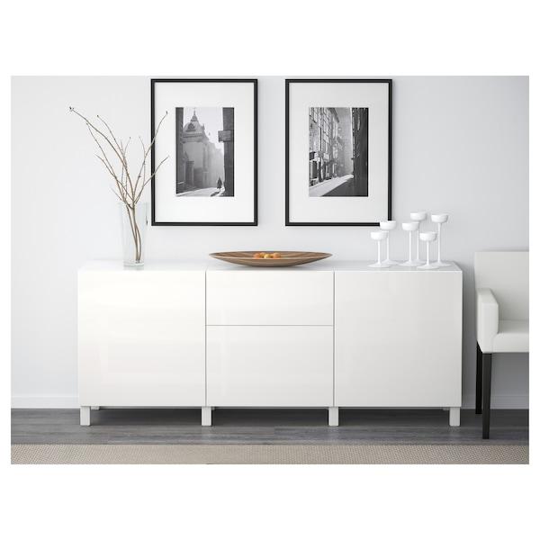 BESTÅ تشكيلة تخزين مع أدراج, أبيض/Selsviken أبيض/لامع, 180x40x74 سم